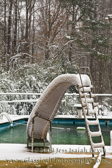 snowy swimming pool